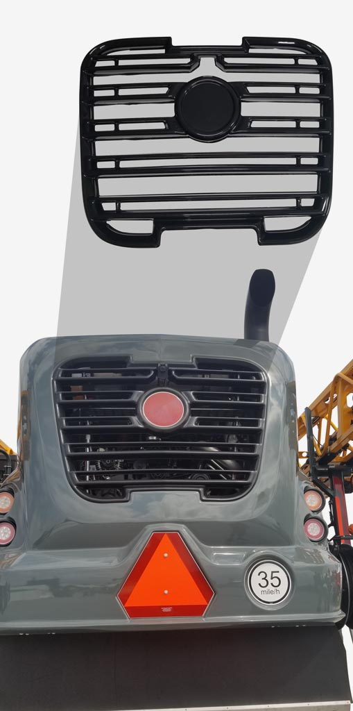 This rear engine grill is a perfect application to use High Heat ABS materials.